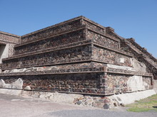 Stony Pyramid At Teotihuacan Ruins Landscape Seen From Avenue Of The Dead Near Mexico City