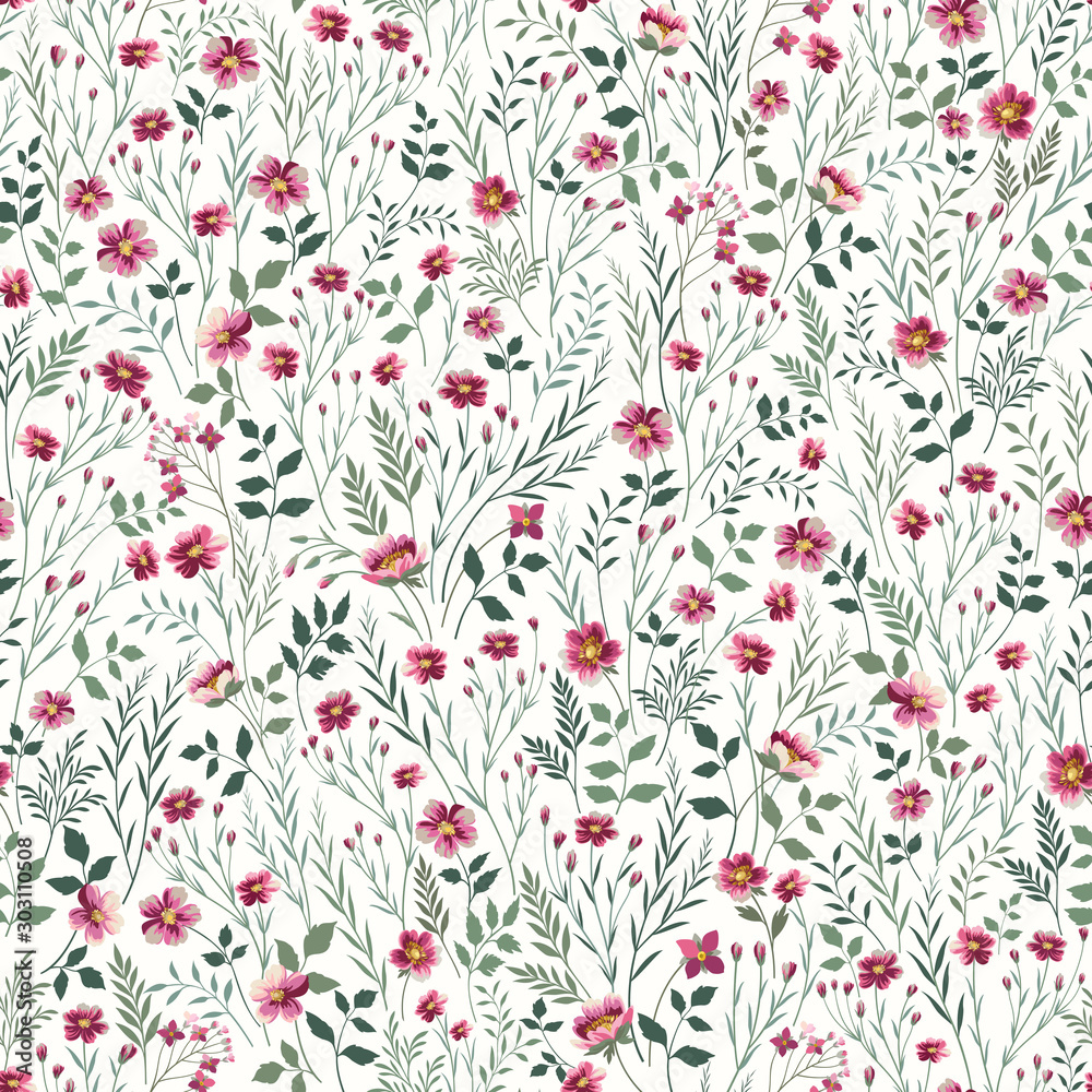 Fototapeta seamless floral pattern with pink meadow flowers