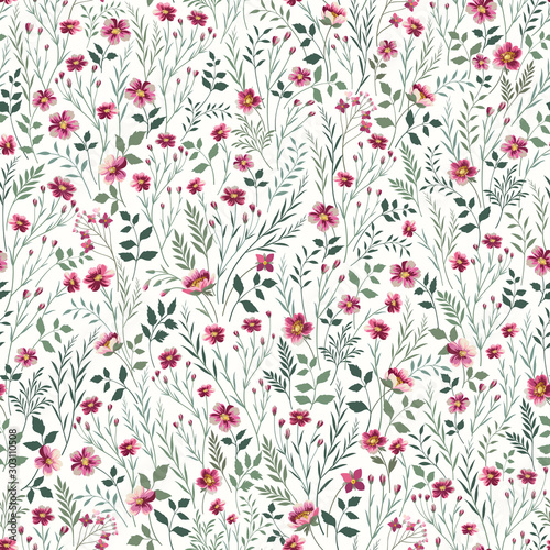 Obraz seamless floral pattern with pink meadow flowers - fototapety do salonu