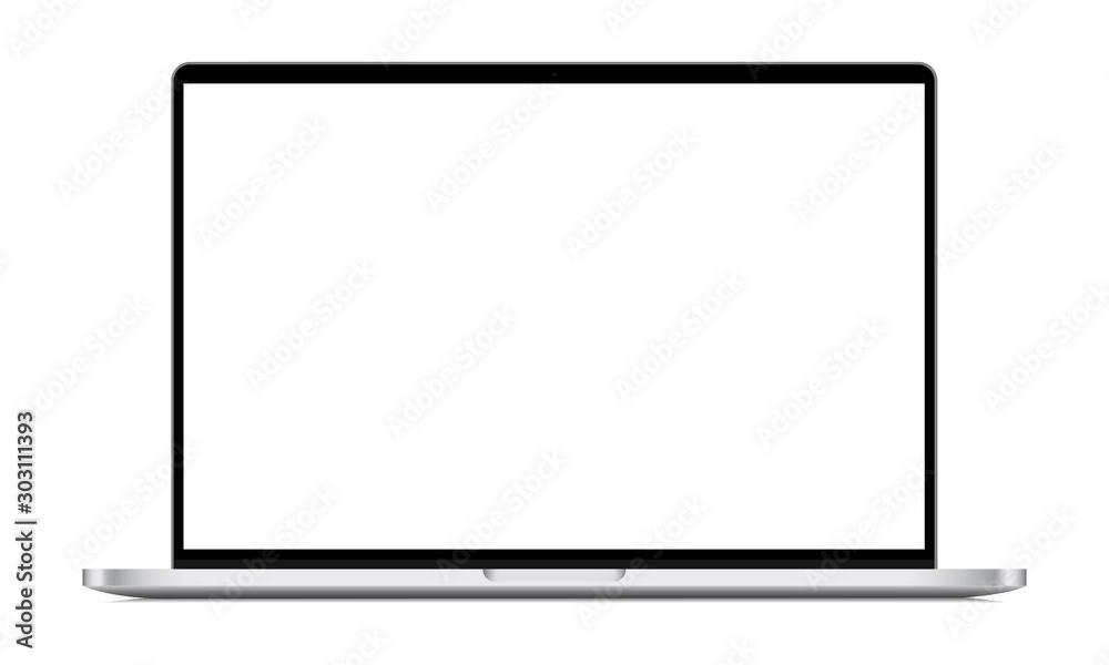 Fototapeta Modern laptop mockup front view, isolated on white background. Vector illustration