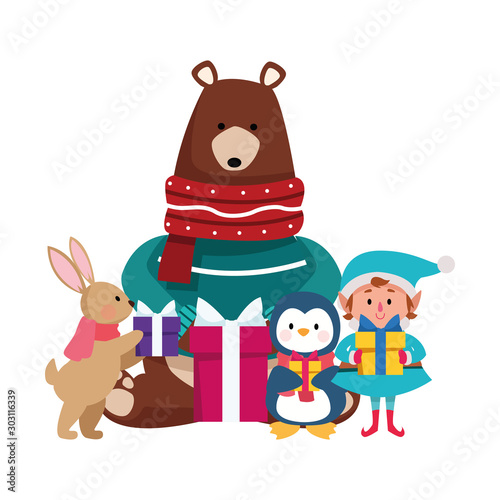 Wall Murals Bears christmas grizzly bear with animals and elf with gift boxes