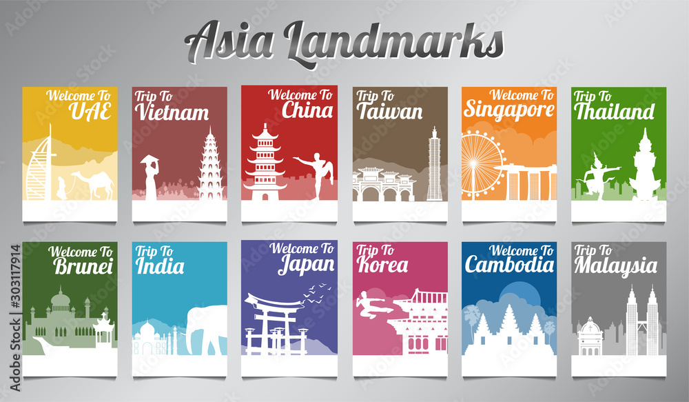 Fototapety, obrazy: Asia famous landmark in silhouette design with multi color style brochure set,vector illustration