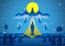 Lord Of Buddha Walk Down From Heaven That For Visit And Teach His Mom In Dharma,The Begin Of Tak Bat Thewo And The End Of Buddhist Lent Day.surround By Angel Monk And Buddhist,vector Illustration
