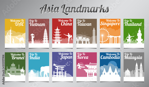 Valokuva  Asia famous landmark in silhouette design with multi color style brochure set,ve