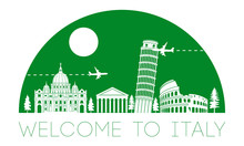 Italy Top Famous Landmark Silhouette In Half Circle Shape With Green Color Style,travel And Tourism,vector Illustration