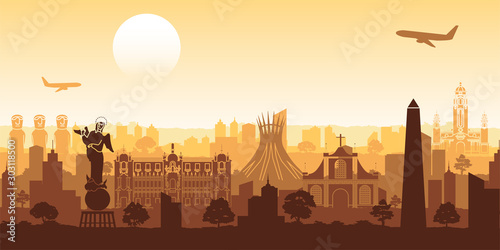 Obraz South america famous landmark silhouette style with row design on sunset time,vector illustration - fototapety do salonu
