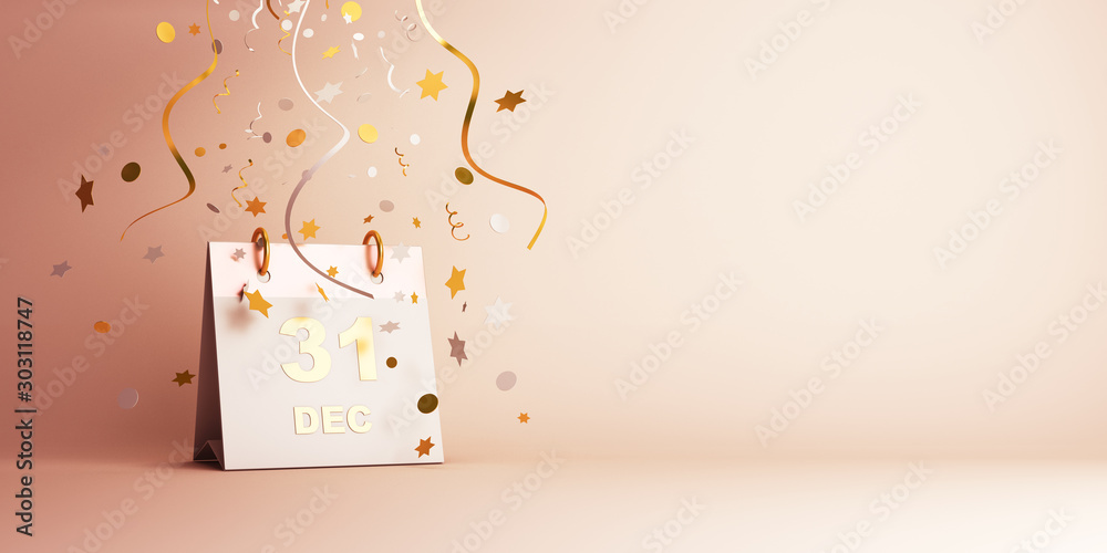 Fototapeta Happy New Year eve design creative concept, December 31 calendar and gold silver glittering confetti on gradient background. Copy space text area, 3D rendering illustration.