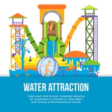 Water Attraction Or Aquapark For Kids With Different Water Slides, Hills Tubes And Pools Vector Illustration. Blue And Yellow Waterpark Attraction Poster.