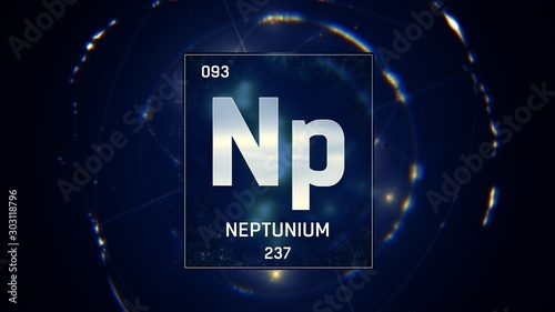 3D illustration of Neptunium as Element 93 of the Periodic Table Canvas-taulu