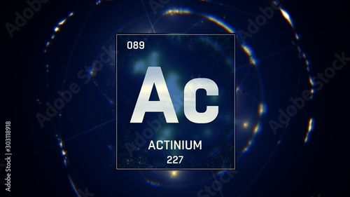 3D illustration of Actinium as Element 89 of the Periodic Table Wallpaper Mural
