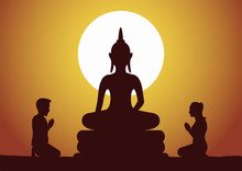 Buddhist Woman And Man Pay Respect To Buddha Sculpture Politely With Faith And Believe,silhouette Style Vector Illustration