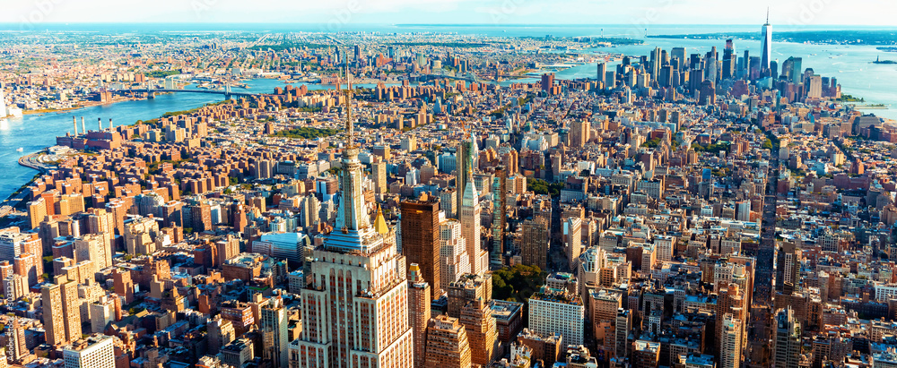 Fototapety, obrazy: Aerial view of the skyscrapers of Midtown Manhattan New York City