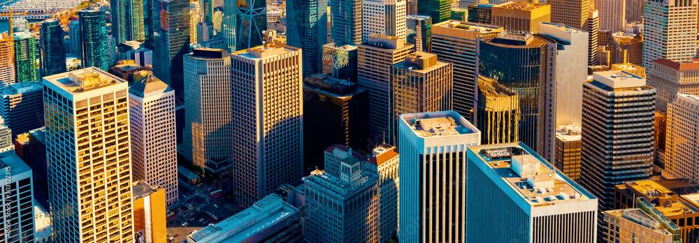 Fototapeta Downtown San Francisco aerial view of skyscrapers