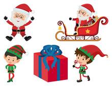 Christmas Set With Santa And Elf