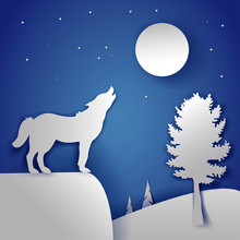 Vector Winter  Greeting Card With Wolf