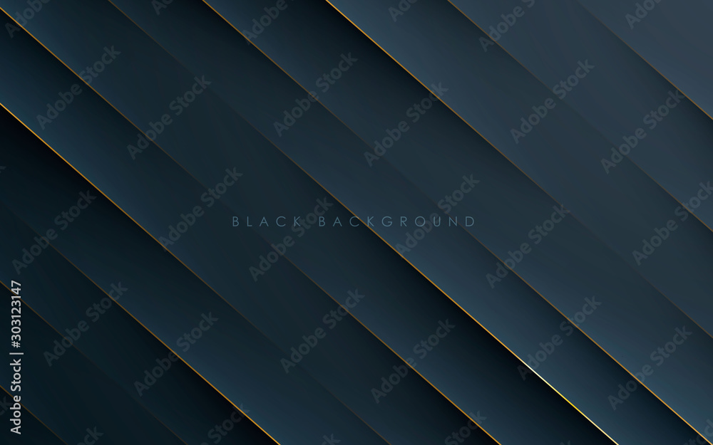 Fototapeta Modern black abstract background concept with gold line