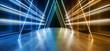 Futuristic Sci Fi Triangle Neon Glowing Laser Underground Concrete Grunge Reflective Lasers Orange Blue Studio Show Night Lights Hallway  Spaceship Background 3D Rendering