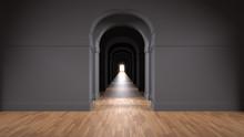 Empty Dark Architectural Inter...