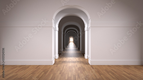 Empty white architectural interior with infinite arch doors, endless corridor of doorway, walkaway, labyrinth Wallpaper Mural