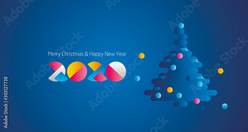 Obraz Merry Christmas Happy New Year 2020 modern future colorful design with abstract Christmas tree and numbers logo blue greeting card - fototapety do salonu