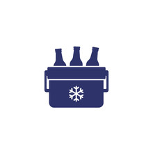 Portable Cooler With Beer Vector Icon On White