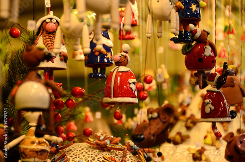 Handmade Christmas Ornaments in a Market. Italy.