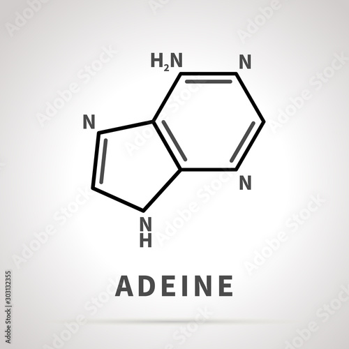 Photo Chemical structure of Adeine, one of the four main nucleobases, simple black ico