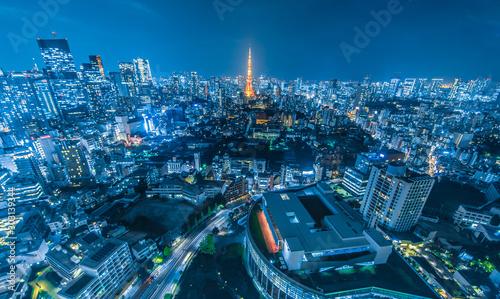東京都市風景 夜景 Night view of Tokyo Canvas Print