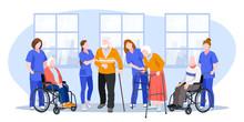 Nurse Taking Care About Seniors People In Hospital. Vector Flat Cartoon Illustration.