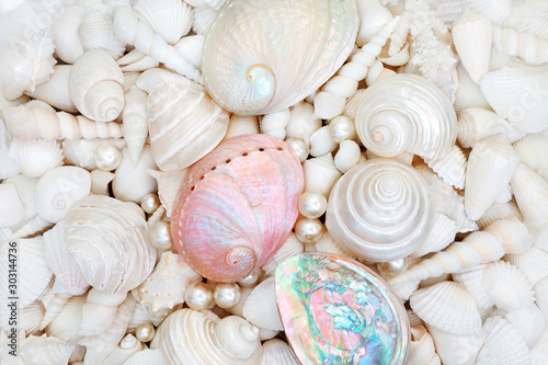 Photo Seashell background with pearls and mother of pearl shells forming an abstract background