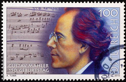 Fotomural Portrait of Gustav Mahler on postage stamp