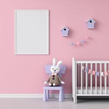 Blank Photo Frame For Mockup In Child Room, 3D Rendering