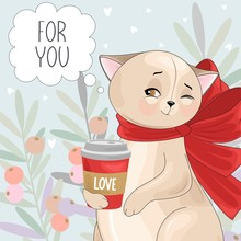 Valentine's Day Card. Romantic Cat With Festive Elements.