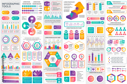 Fototapeta Bundle infographic elements data visualization vector design template. Can be used for steps, business processes, workflow, diagram, flowchart concept, timeline, marketing icons, info graphics. obraz na płótnie