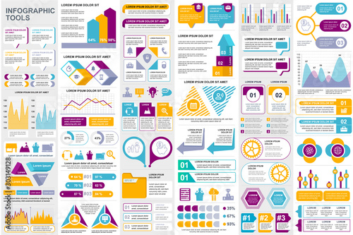 Bundle infographic elements data visualization vector design template. Can be used for steps, business processes, workflow, diagram, flowchart concept, timeline, marketing icons, info graphics.