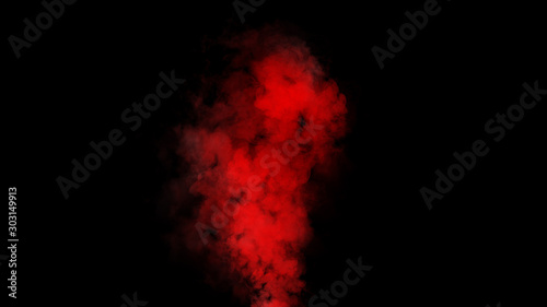 Fotomural  Red expolosion smoke bomb on isolated black background