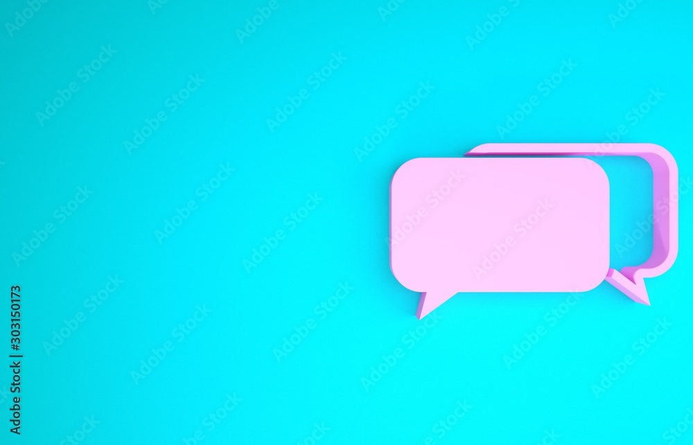 Fototapeta Pink Chat icon isolated on blue background. Speech bubbles symbol. Minimalism concept. 3d illustration 3D render