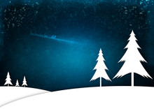 Illustration Of Christmas Trees Standing A Snowy Landscape. Father Christmas Flies Overhead In His Sleigh.
