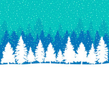 Falling Snow In Coniferous For...