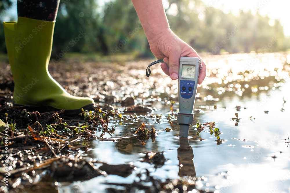 Fototapety, obrazy: Measure water content with digital device.  PH meter.