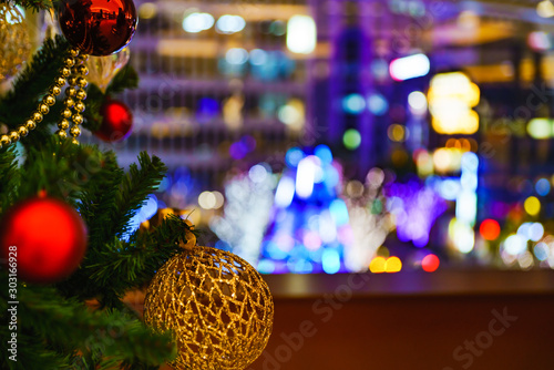 Foto auf Leinwand Braun Landscape of Christmas tree and illumination in Tokyo Japan
