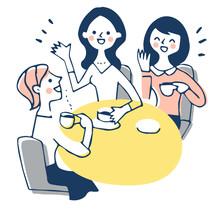 カフェでおしゃべりをする3人の女性