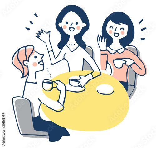 カフェでおしゃべりをする3人の女性 Fototapeta
