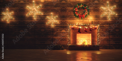 Fotografía  3D Rendering Christmas interior