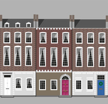 London Street With Brick Houses.