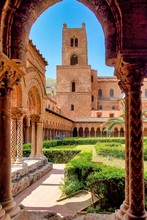 The Courtyard Of Monreale Cathedral Of Assumption, Sicily, Italy.