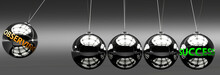 Observing And Success - The Idea That Observing Helps To Achieve Success And Happiness In Business, Work And Life Symbolized By English Word Observing And A Newton Cradle, 3d Illustration