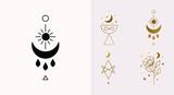 Fototapeta Kwiaty - Ethnic Magic and Mystical Logo Set with sun, hexagram, moon, blessing, cup symbols in Vector