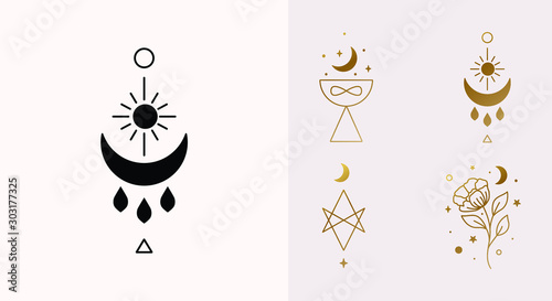 Ethnic Magic and Mystical Logo Set with sun, hexagram, moon, blessing, cup symbols in Vector - 303177325