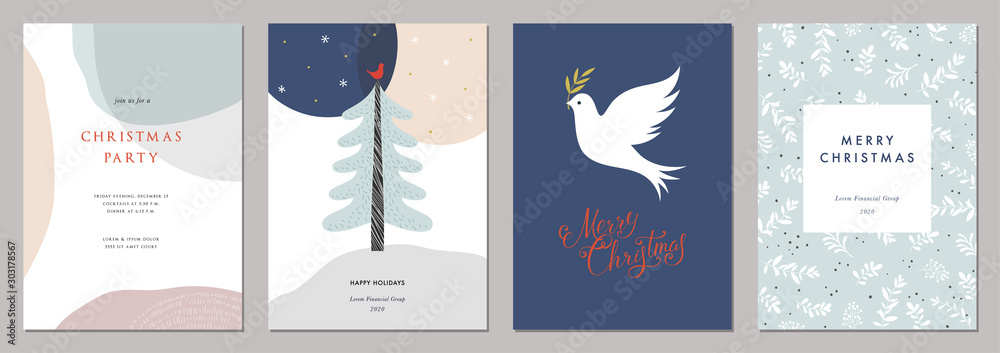 Fototapety, obrazy: Merry Christmas and Modern Business Holiday cards.